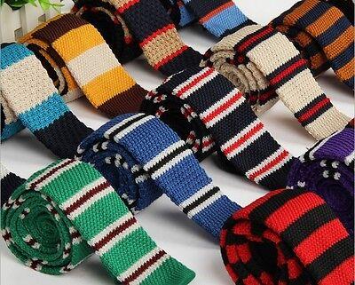 Men's Fashion Colourful Tie Knit Knitted Tie Necktie Narrow Slim Skinny Woven