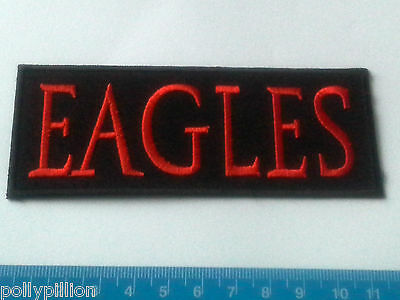 PUNK ROCK HEAVY METAL MUSIC SEW ON / IRON ON PATCH:- THE EAGLES RED BLACK STRIPE