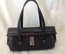 Auth Tom Ford for Gucci Black Guccissima Studded Babouska Satchel. Very rare.