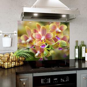 CoopéRative Splashback En Verre Cuisine Cuisinière Fleurs Orchidée Fleurs Macro Toute Taille 0507-afficher Le Titre D'origine