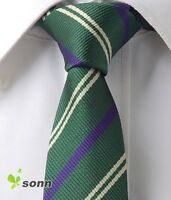 "Dark Green Purple Stripe Skinny Slim Narrow Woven Silk 2.5"" Wedding Tie LT212"