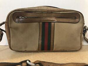 d1196e8de9 GUCCI GG LOGO CROSSBODY SHOULDER BAG, VINTAGE 1970'S, TAN GREEN RED ...