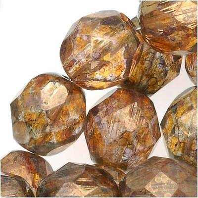 Czech Fire Polished Glass Beads 8mm 'Transparent Gold/Smoked Topaz' (25)