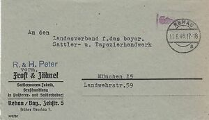 """Rehau, Geschäftsbrief nach München, """"Gebühr bezahlt"""", 1946 - Brachttal, Deutschland - Rehau, Geschäftsbrief nach München, """"Gebühr bezahlt"""", 1946 - Brachttal, Deutschland"""
