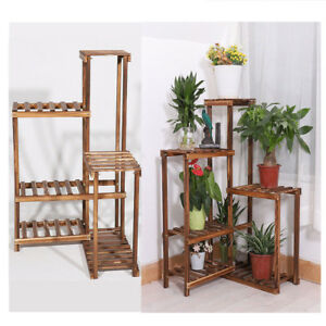 Image Is Loading 6 Tiered Wooden Wall Corner Plant Stand Ladder