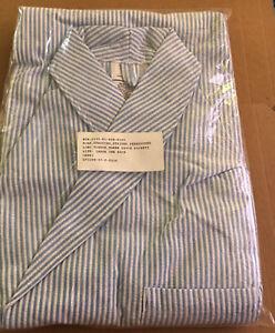 Dressing-Robe-Seersucker-Striped-3-pocket-Large-New-orig-pkg-cotton-polyester