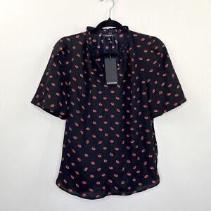 Portmans-Womens-Blouse-Top-Black-Short-Sleeve-Lip-Kiss-Pattern-Size-6-8-NWT