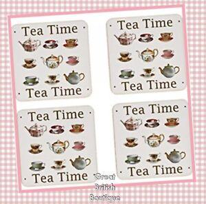 Delightful-034-Tea-Time-034-Drinks-Coasters-Set-of-four