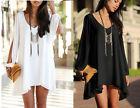 Sexy Womens Chiffon Long Sleeve Shirt V Neck Loose Tops Blouse T-Shirt S M L XL