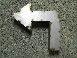 "9/"" RUSTIC Reclaimed Metal Industrial LETTER U 2/"" thick 3D TIN Sign ARCHITECTURAL"