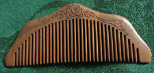 """Natural Old Peach Wood No-Static Fine Tooth """"Half Moon"""" Comb All Hair Types NEW"""