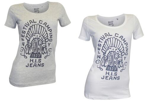 weiß Druck Damenshirt Frontprint Shirt H.I.S 2 Stück T-Shirt grau mel