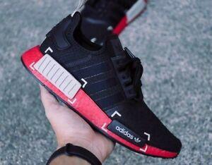 New Adidas Originals Nmd R1 Running Core Black Grey Scarlet Red
