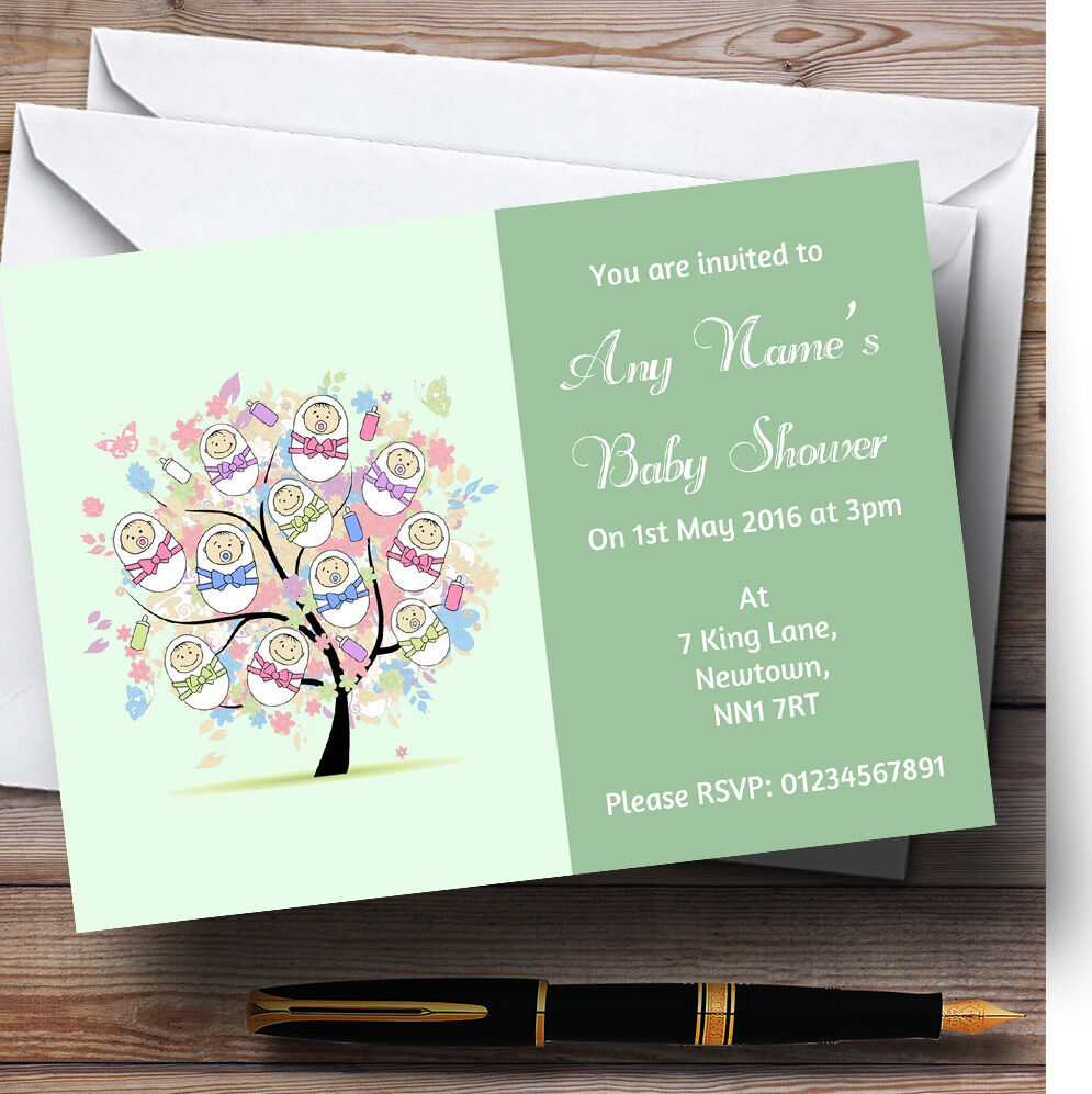 Baby Tree Grün Personalised Baby Shower Invitations