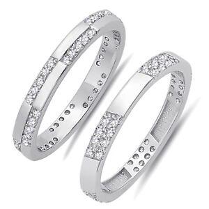 Diamante-Sintetico-Plata-de-Ley-Compromiso-Boda-Eternidad-Anillo-de-Banda