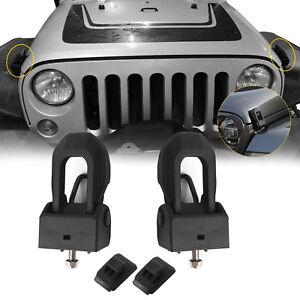 Black-Hood-Lock-Catch-Bracket-Latches-Buckle-Kit-For-07-18-Jeep-Wrangler-JK-JL