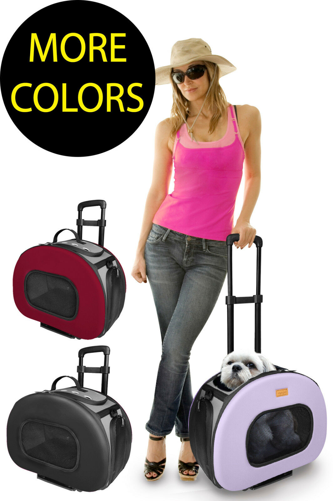 Tough-Shell Wheeled Collapsible Final Destination Travel Pet Dog Carrier Bag