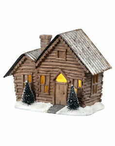 Millwood Pines Resin LED Battery Operated Tin Roof Log Cabin