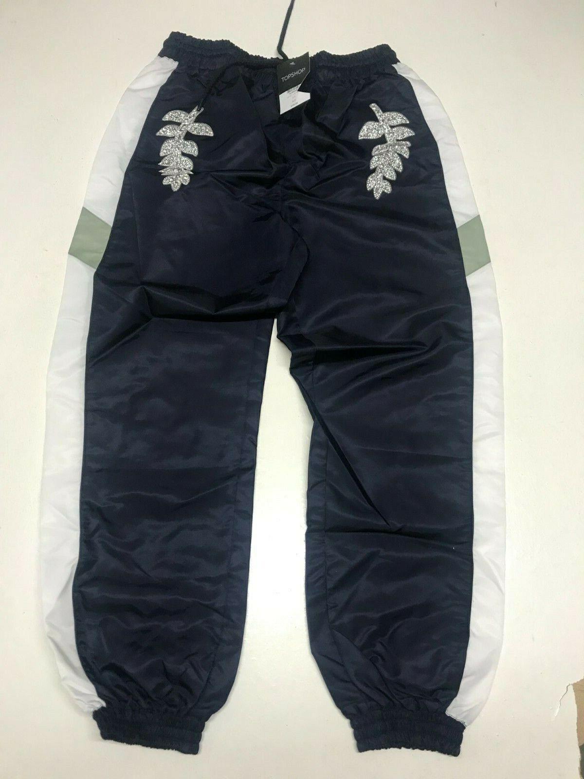 Ex TopShop Marineblau Jogginghose mit Verschönert Detail UK 12 L27 (TS57-9)