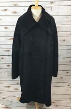 Hilary Radley Womens Suri Alpaca Wool Blend Long Coat Jacket Size 12 Solid Black