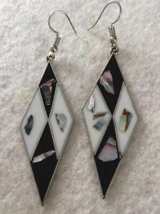 Alpaca-Mexico-Silver-Diamond-Shape-MOP-Mother-of-Pearl-Drop-Pierced-Earrings