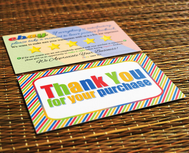 100 ebay seller thank you business cards 5 five star feedback 100 ebay seller thank you business cards 5 five star feedback colorful fun new reheart Image collections