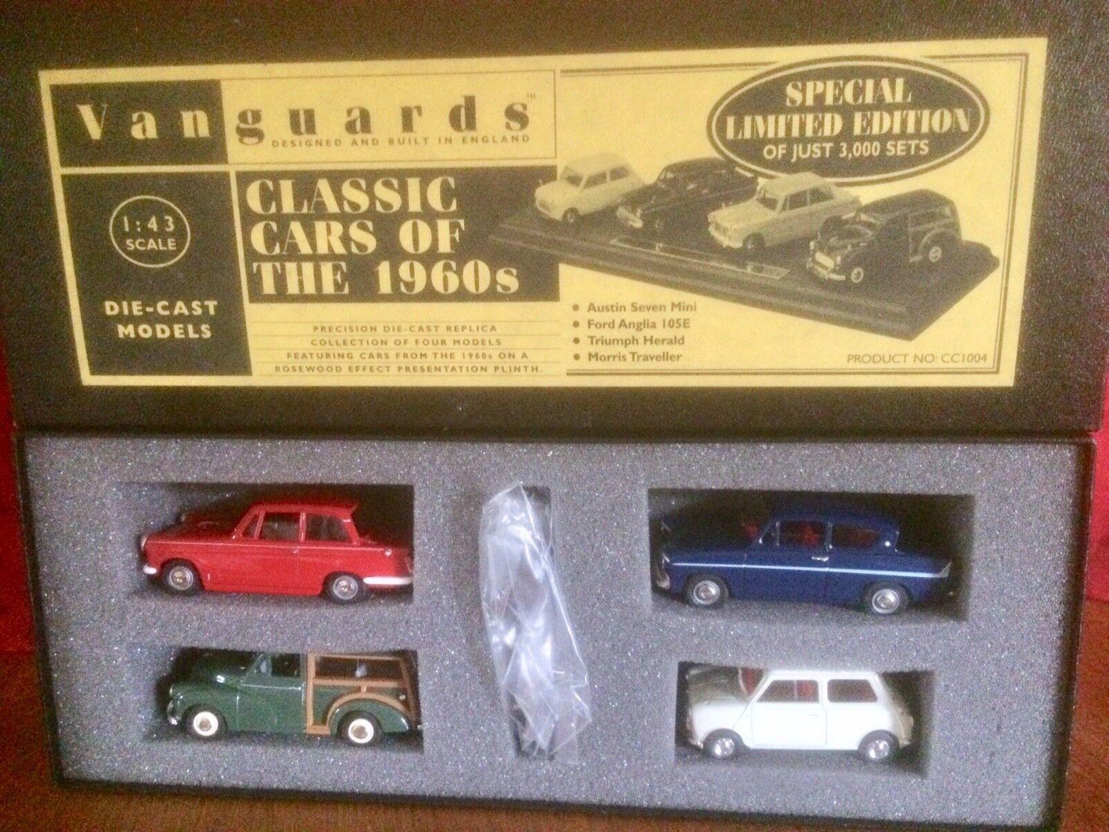 Vanguards CC1004 clásicos coches de la 1960s-Conjunto de cuatro, Pedestal Y Accesorios