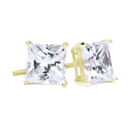 2 Ct Princess Cut Diamond Earrings in Solid 14k Yellow Gold Screw Back Studs