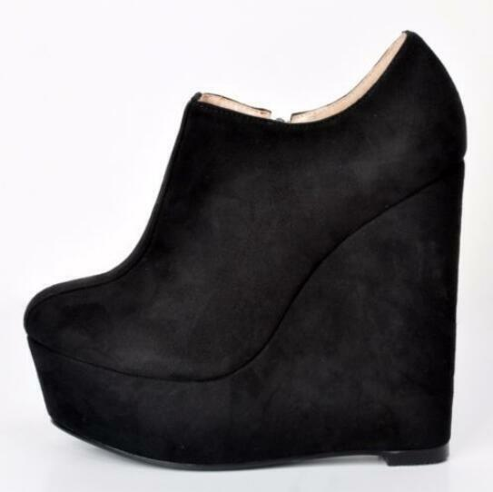 Women Black Ankle Boots Platform Round Toe High High High Wedges Heel shoes Plus Size 4-15 27f8dc