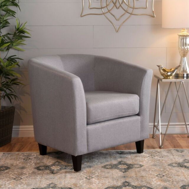 Prescott Modern Channel Stitch Upholstered Fabric Tub Club Chair