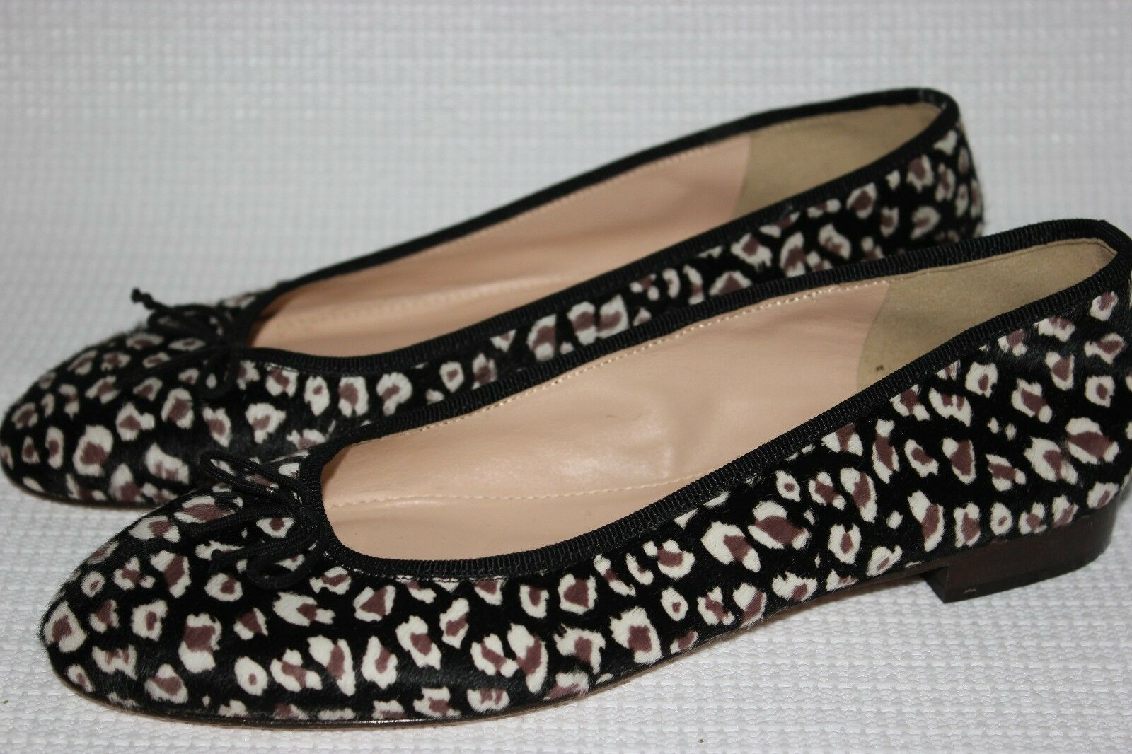 J.CREW COLLECTION KIKI LEOPARD CALF HAIR BALLET FLATS SIZE 7 GREY BROWN F5512