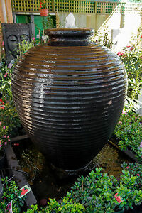 GRC-Large-Outdoor-Garden-Patio-Water-Feature-Cyprus-Urn-Fountain-Charcoal-Black