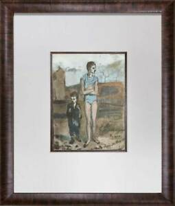 Pablo-Picasso-Lithograph-LIMITED-Edition-Harlequin-and-Boy-Custom-FRAME