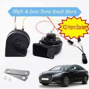 Snail-Horn-For-Hyundai-i40-11-20-12V-125db-Dual-Tone-Loud-Waterproof-Horn