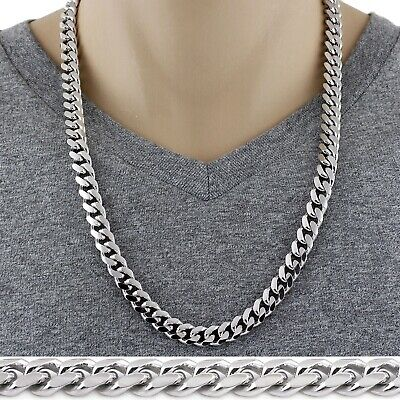 Sterling Silver Cuban Necklace 10mm link