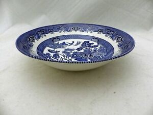 Churchill-of-England-Blue-Willow-8-034-round-Vegetable-serving-Bowl-New