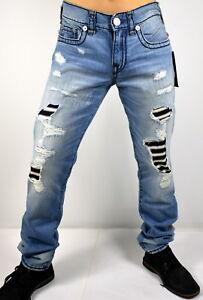 True-Religion-Men-039-s-Geno-Super-T-Relaxed-Slim-Patchworks-Jeans-100274