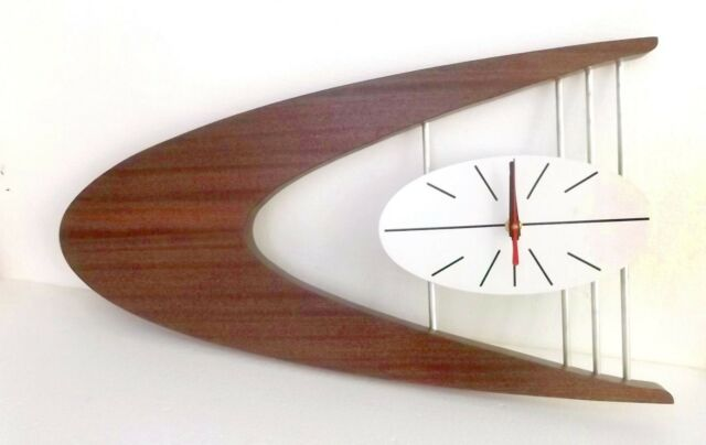 MID-CENTURY DANISH MODERN Boomerang Wall Clock Belart style