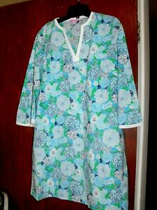 LILLY-PULITZER-Blue-FLORAL-Cotton-3-4-Sleeve-DRESS-Tunic-COVER-Up-Sz-S