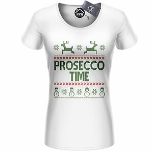 f180e658 Prosecco Time Christmas T Shirt Top Champagne Xmas Drink Drunk Party ...