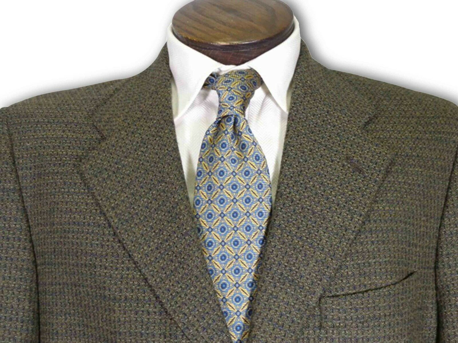 Tallia Olive bluee Brown Glen Plaid Sport Coat size 42 B009
