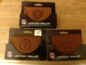 NFL-tan-tri-fold-leather-wallet-Pick-your-team