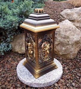 Grablaterne-mit-Sockel-Grablampe-Grableuchte-Licht-Grablicht-Kerze-Engel-Bronze