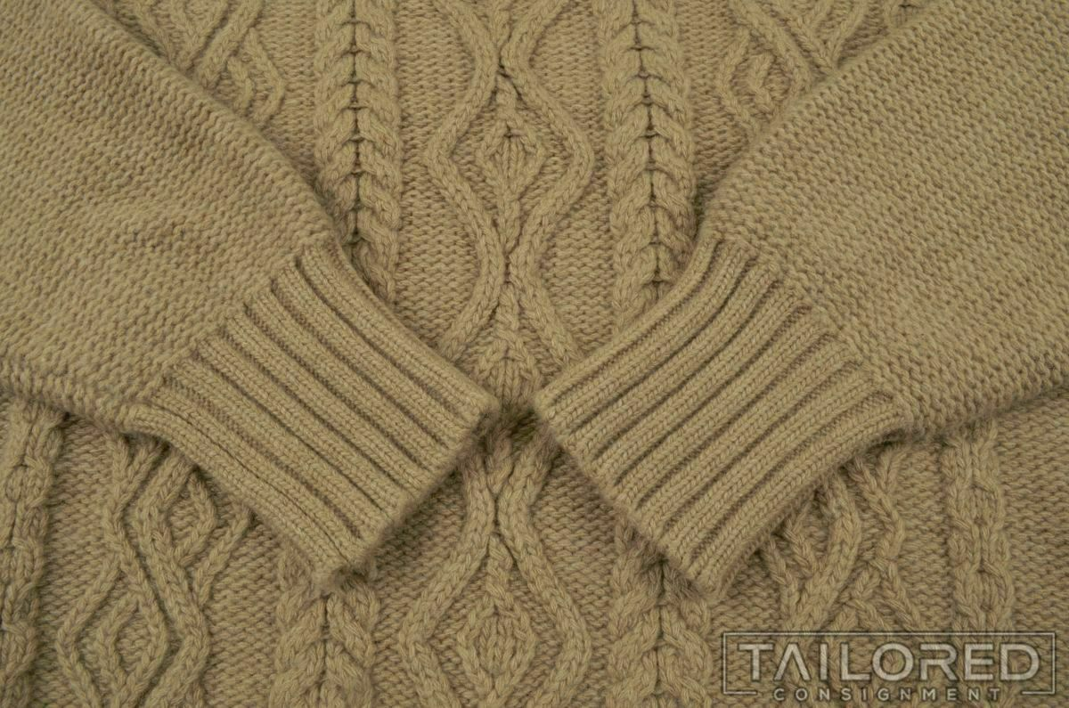 INIS MEAIN Solid Brown Cashmere Wool Woven Cablek… - image 2
