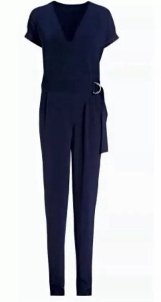 BNWTNext Size 8 R Navy bluee D Ring Wrap Jumpsuit Tapered Evening New Small