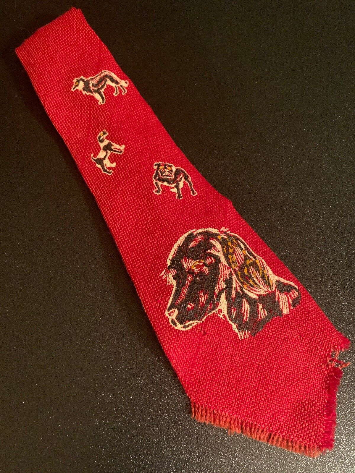 """Vtg 1930s 30s Home Stead Hand Woven Wool Tie Dogs Printed Theme Swing 45"""" 4"""""""