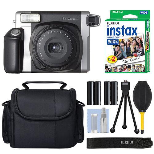 Fujifilm INSTAX Wide 300 Fuji Instant Camera Black + 20 Film Bundle