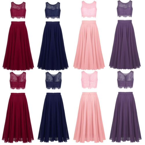 Flower Girl Dress Kid Wedding Bridesmaid Pageant Long Skirt+Lace Tank Top Outfit