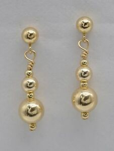 #BE-166 New 14K Solid Yellow Gold Drop Earrings