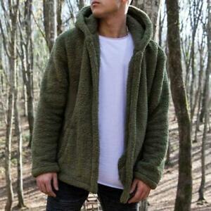 Mens-Winter-Warm-Fluffy-Fleece-Hooded-Coat-Hoodies-Jacket-Outwear-Cardigans-S2G1